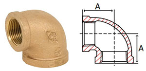 "1-1/2"" Threaded NPT 90 Elbow Brass Fitting, A=1.84"